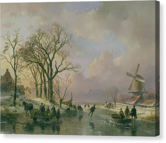 Ice Skating Canvas Print - Skating In Holland by Andreas Schelfhout