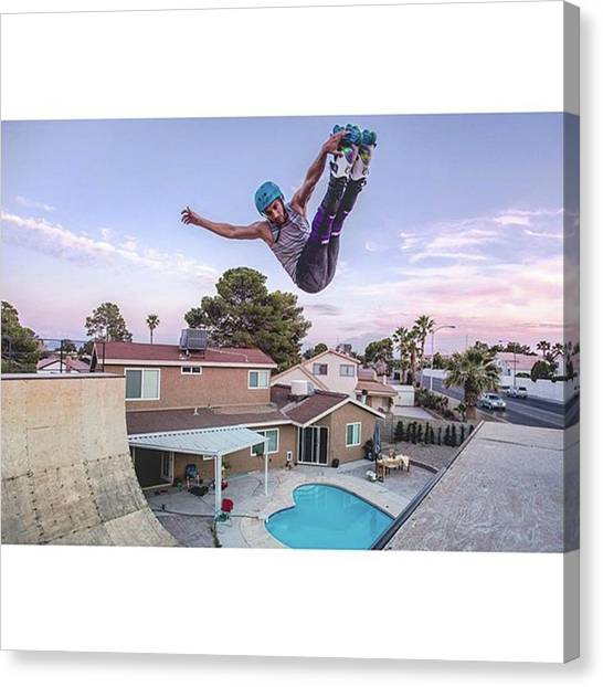 Rollerblading Canvas Print - Skating In @marcoskater Yard! Thank You by Ephcto Ernesto Borges