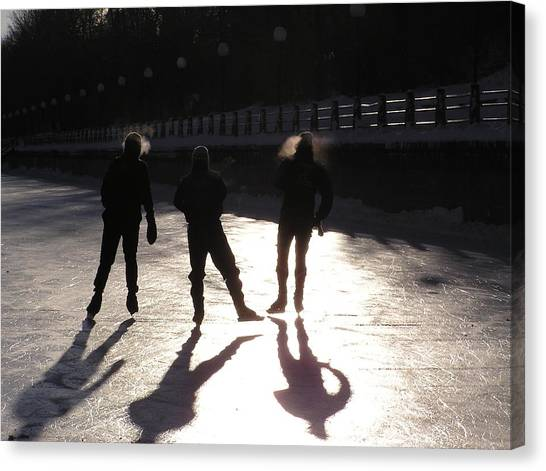 Skating The Canal Canvas Print by Richard Mitchell