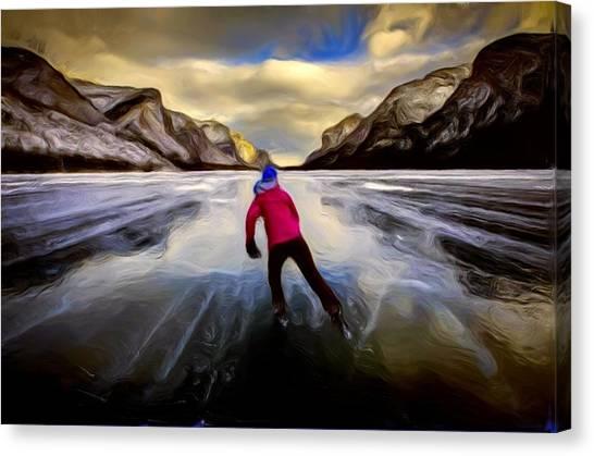 Skating Through The Mountains Canvas Print