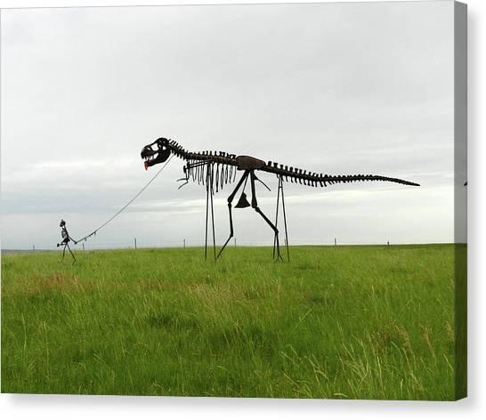 Skeletal Man Walking His Dinosaur Statue Canvas Print