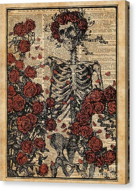 Skull Canvas Print - Skeleton Art, Skeleton With Roses Book Art,human Anatomy by Fundacja Rozwoju Przedsiebiorczosci