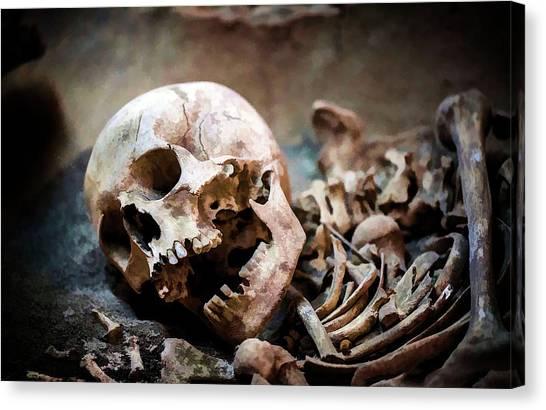 Buried Canvas Print - Skeleton Dead Head by Sezer Akdeniz
