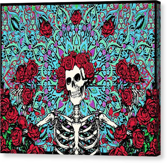 Grateful Dead Canvas Print - skeleton With Roses by Gd