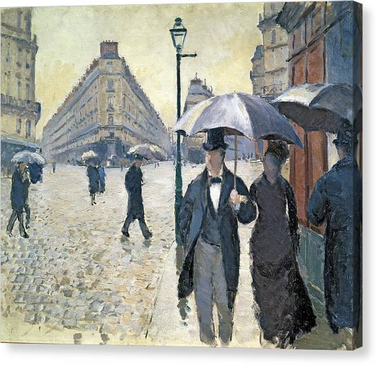 Rain Canvas Print - Sketch For Paris A Rainy Day by Gustave Caillebotte