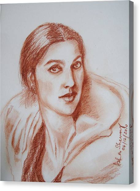 Sketch In Conte Crayon Canvas Print