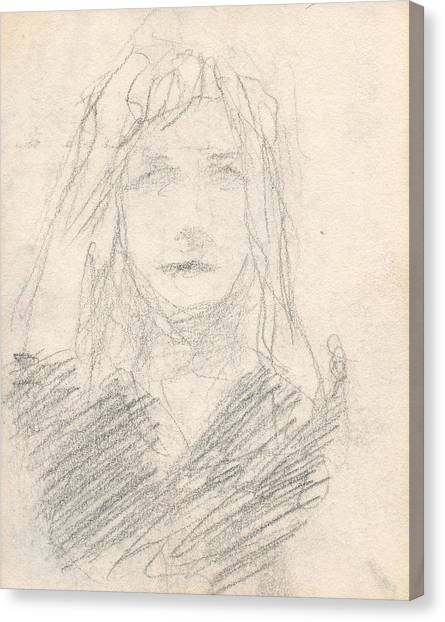 Sketch Of A Girl Canvas Print by T Ezell