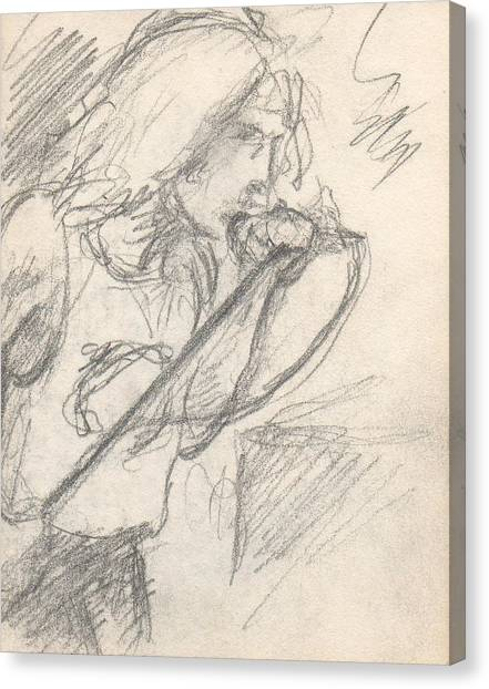 Sketch Of Robert Plant Canvas Print by T Ezell