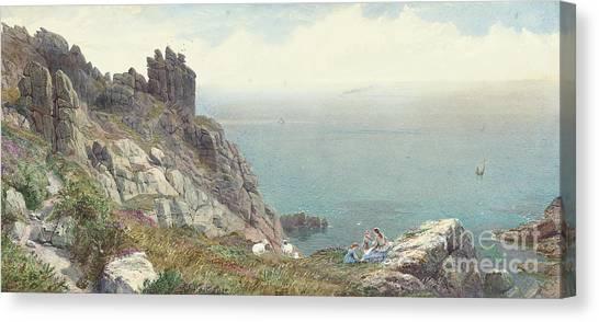 Ocean Cliffs Canvas Print - Sketch On The Cornish Coast by Anthony Carey Stannus