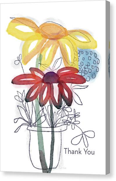 Daisy Canvas Print - Sketchbook Flowers Thank You- Art By Linda Woods by Linda Woods