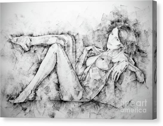 Sketchbook Page 46 Drawing Woman Classical Sitting Pose Canvas Print
