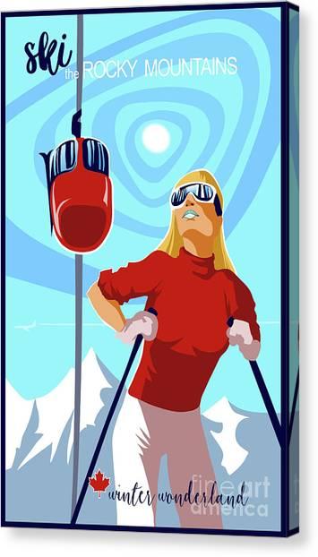 Style Canvas Print - Ski Bunny Retro Ski Poster by Sassan Filsoof