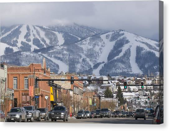 Stoplights Canvas Print - Ski Resort And Downtown Steamboat by Rich Reid