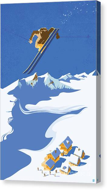 Canvas Print featuring the painting Sky Skier by Sassan Filsoof