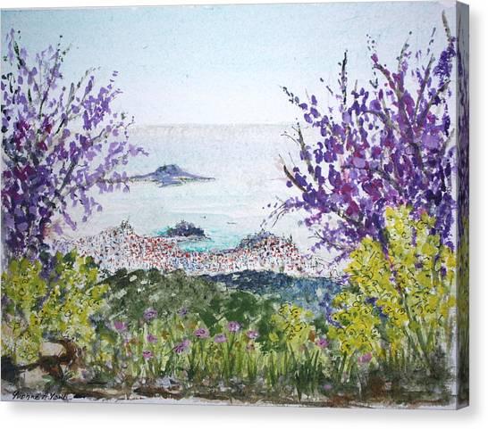 Skiathos Town And Judas Trees Canvas Print by Yvonne Ayoub