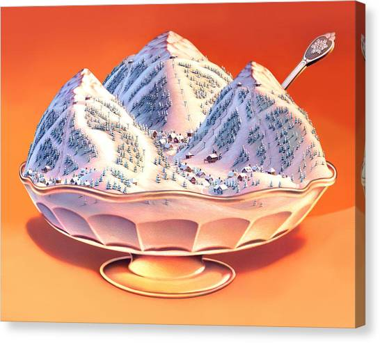Ice Canvas Print - Skiers Sundae by Robin Moline