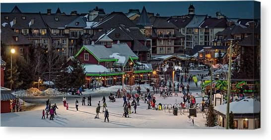 Skiing At The Village Canvas Print
