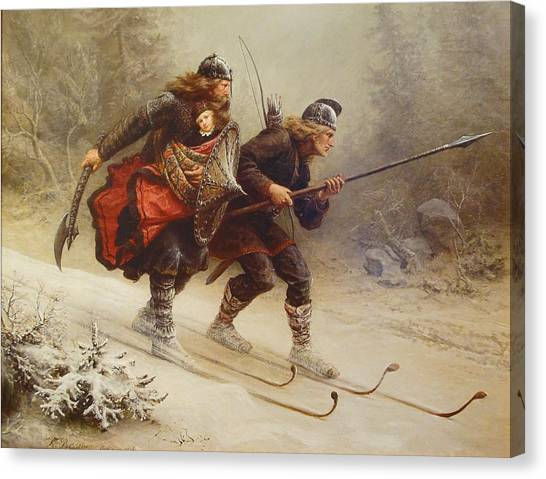 Canvas Print featuring the painting Skiing Birchlegs Crossing The Mountain With The Royal Child by Knud Bergslien