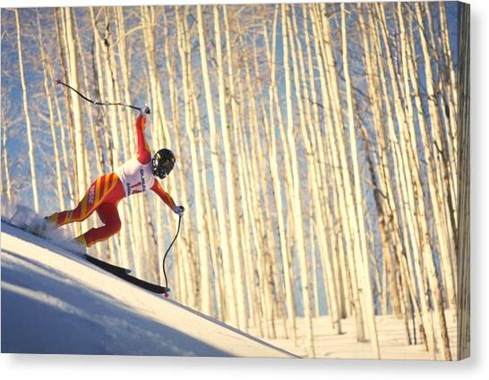 Travelpics Canvas Print - Skiing In Aspen, Colorado by Travel Pics