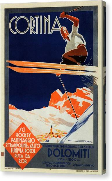 Skiing On The Alps In Cortina - Ice Hockey Tournament - Vintage Advertising Poster Canvas Print