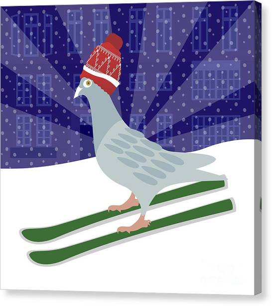 Winter Fun Canvas Print - Skiing Pigeon by Claire Huntley