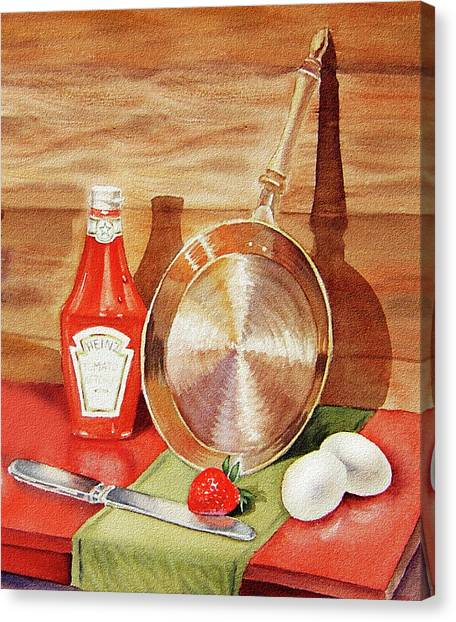 Ketchup Canvas Print - Skillet Eggs And Heinz Ketchup Watercolor  by Irina Sztukowski