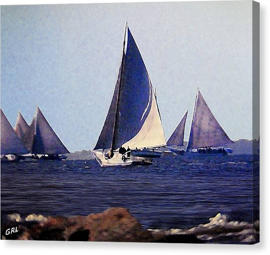 Canvas Print featuring the painting Skipjacks Racing IIi Chesapeake Bay Maryland Contemporary Digital Art Work by G Linsenmayer