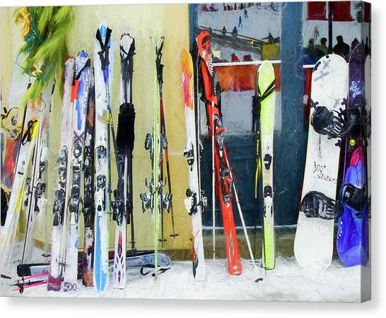 Canvas Print featuring the photograph Skis By The Window. by Rob Huntley