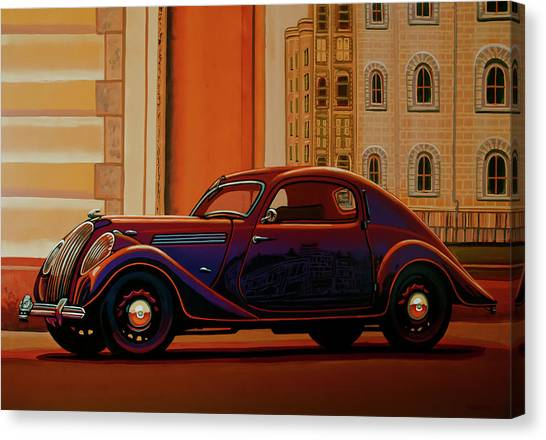 Ancient Art Canvas Print - Skoda Popular Sport Monte Carlo 1935 Painting by Paul Meijering