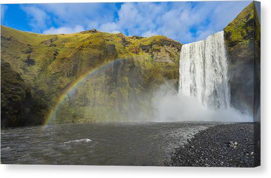 Canvas Print featuring the photograph Skogafoss Rainbow by James Billings