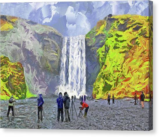 Canvas Print featuring the digital art Skogafoss Waterfall by Digital Photographic Arts