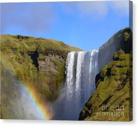 Skogafoss Waterfall With Rainbow 151 Canvas Print