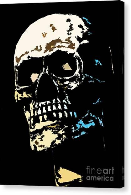 Skull Against A Dark Background Canvas Print