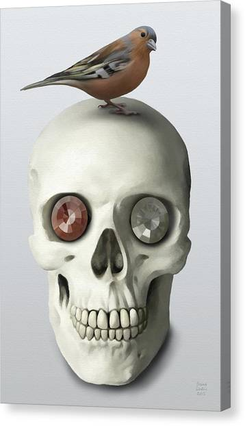 Canvas Print featuring the painting Skull And Bird by Ivana Westin