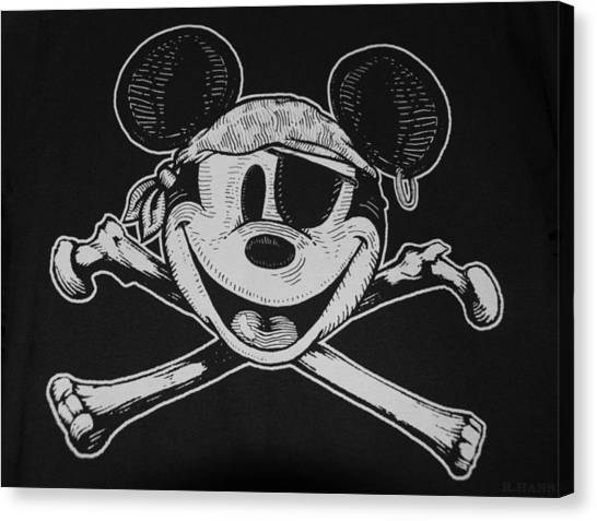 Skull And Bones Mickey  Canvas Print