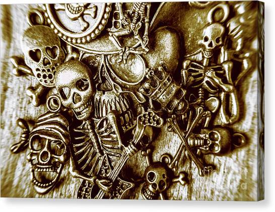 Gothic Art Canvas Print - Skull And Cross Bone Treasure by Jorgo Photography - Wall Art Gallery