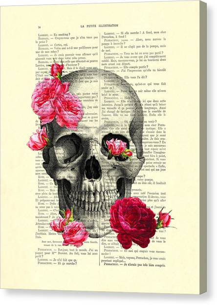 Anatomy Canvas Print - Skull And Pink Roses by Madame Memento