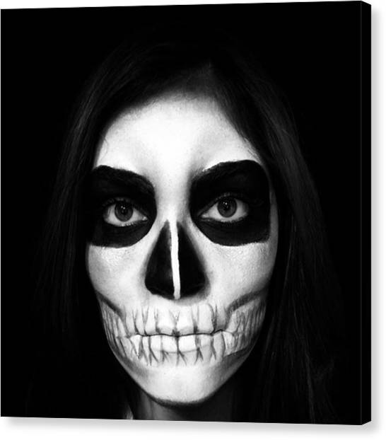 Skulls Canvas Print - Skull Face Halloween Make-up by Juan Silva