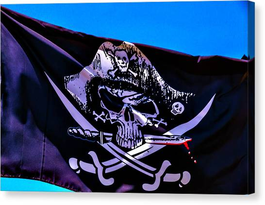 Sly Canvas Print - Skull Flag With Dagger by Garry Gay