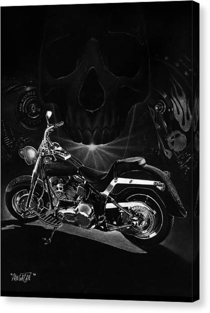 Harley Davidson Canvas Print - Skull Harley by Tim Dangaran