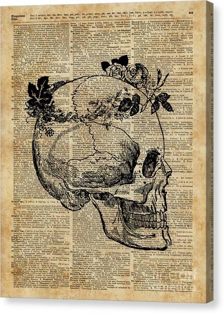 Creepy Canvas Print - Skull In Floral Wreath Ink Drawing Dictionary Art by Fundacja Rozwoju Przedsiebiorczosci