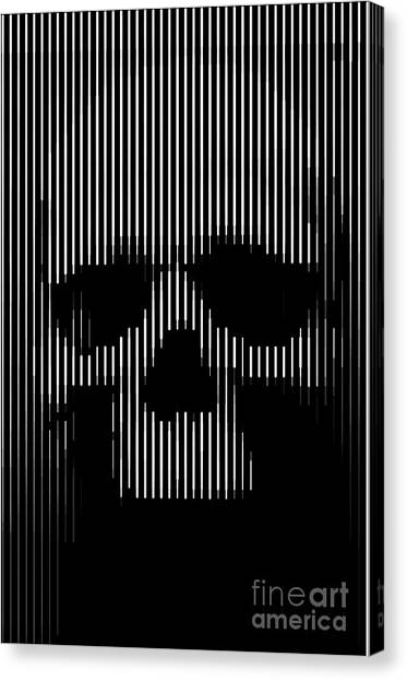 Canvas Print featuring the painting Skull Lines by Sassan Filsoof