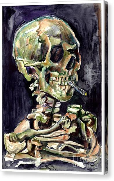 Skulls Canvas Print - Skull Of A Skeleton With Burning Cigarette by Suzann's Art