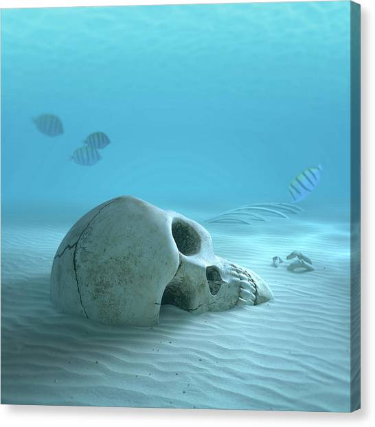 Skulls Canvas Print - Skull On Sandy Ocean Bottom by Johan Swanepoel