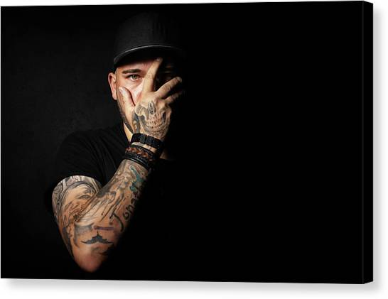 Skulls Canvas Print - Skull Tattoo On Hand Covering Face by Johan Swanepoel