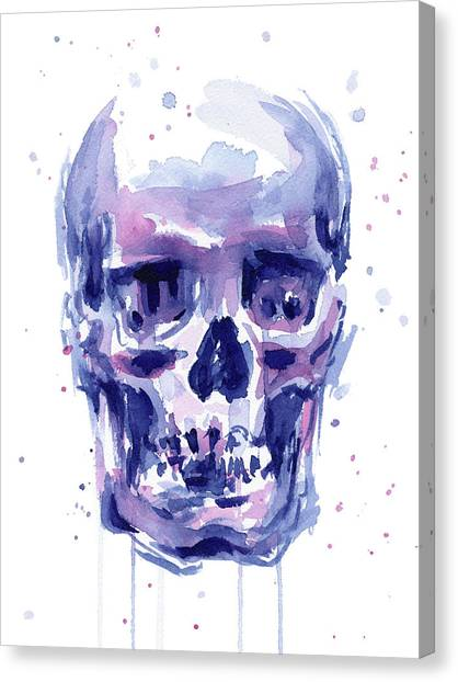 Skulls Canvas Print - Skull Watercolor by Olga Shvartsur