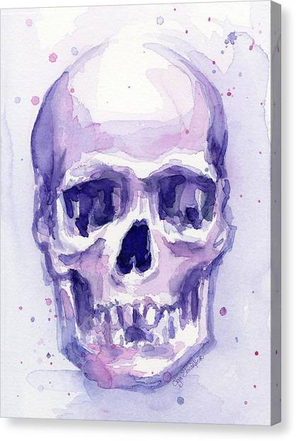 Skull Canvas Print - Skull Watercolor Purple by Olga Shvartsur