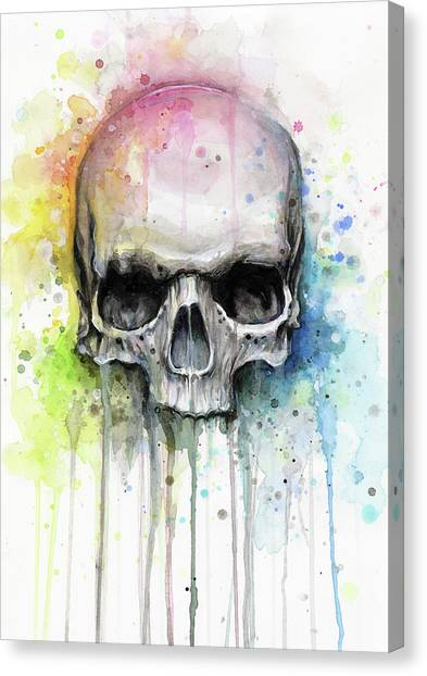 Skulls Canvas Print - Skull Watercolor Rainbow by Olga Shvartsur