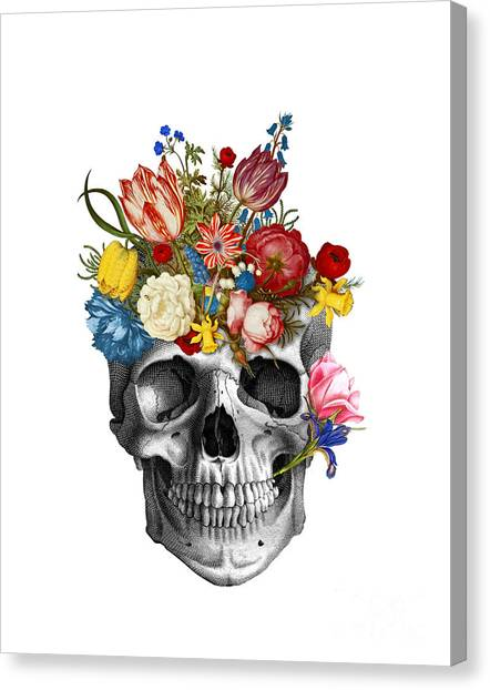 Skull Canvas Print - Skull With Flowers by Madame Memento