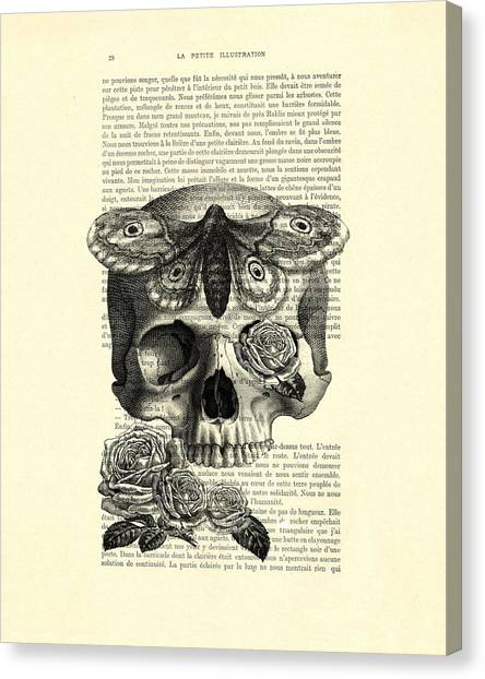 Moth Canvas Print - Skull With Hawkmoth Black And White by Madame Memento